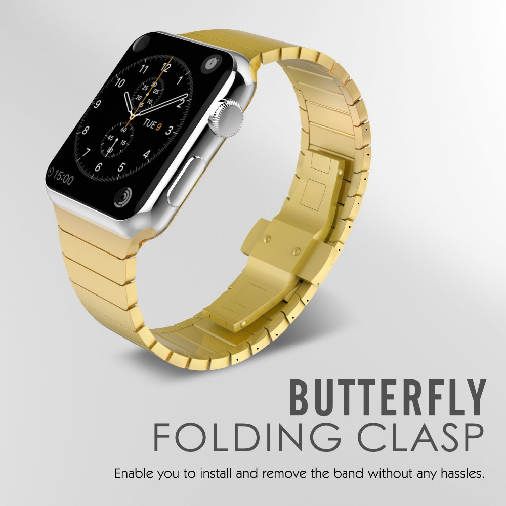 Galleria fotografica Link bracelet For Apple watch band 42mm 38mm stainless steel butterfly loop for iwatch 3/2/1 Luxury watchband metal straps
