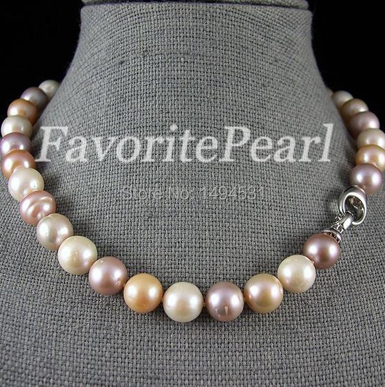 Pearl Necklace 12 13MM 17.5 18 Inches Multi Color Freshwater Pearl Necklace Wholesale Jewelry Free Shipping