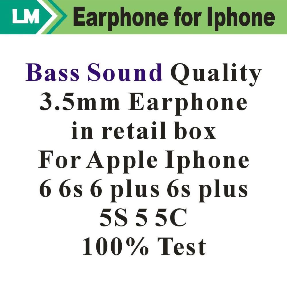 Prix pour En gros 3.5mm Basse Qualité Sonore Écouteurs Avec Télécommande Mic Volume contrôle Pour Iphone 5G 6G 6 Plus 100% Test 100 pcs/lot Livraison DHL
