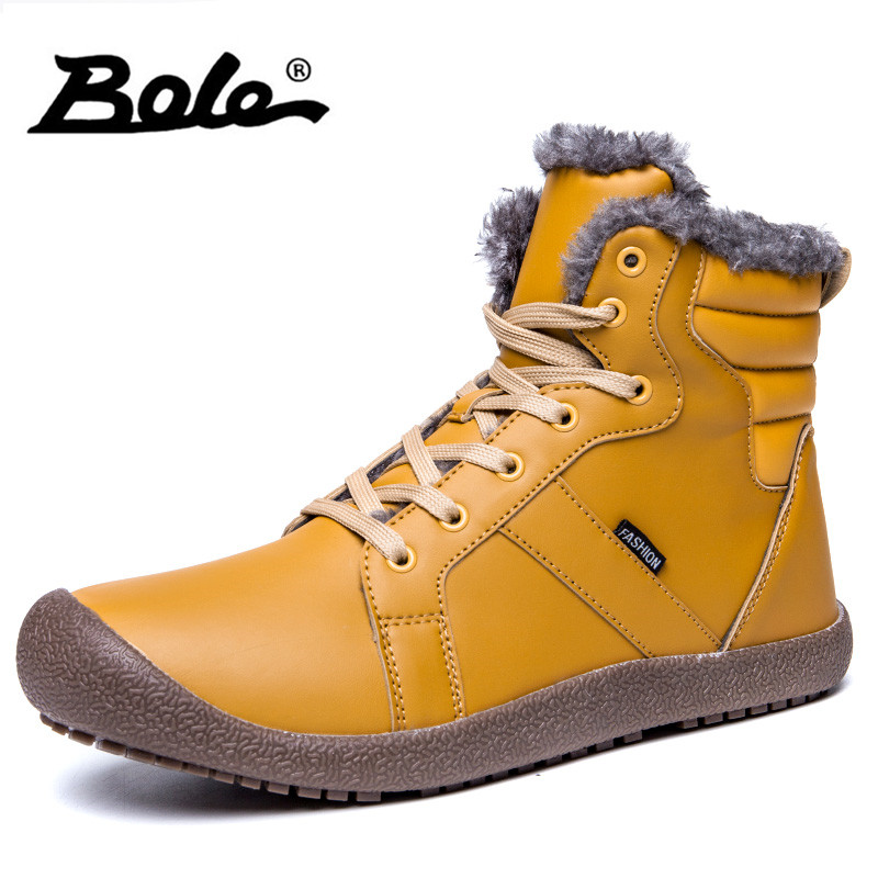 BOLE 36-48 Big Size Men Snow Boots Winter New High Quality Pu Leather Men Ankle Boots Lace Up Flats Casual Shoes Men Warm Boots xiaguocai new arrival real leather casual shoes men boots with fur warm men winter shoes fashion lace up flats ankle boots h599