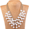 Elegant Women's Multi-layer Torsade Fringe White Simulated Pearl Chain Statement Necklace Pendant Women Jewelry for Gift Party