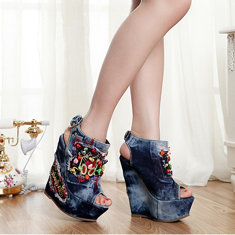 Hot Sale New Summer Pumps Sexy Ultra High Heels Female Sandals Platform Wedges Open Toe String Bead Buckle Denim Women's Shoes free shipping fashion 2017 new summer wedges platform sandals women black and white open toe high heels female shoes z596