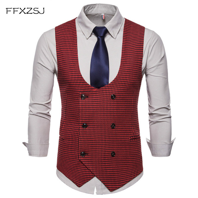 FFXZSJ 2018 Spring Autumn Man's Vest Vintage Waistcoat Men Suit Vest U-shaped Collar Houndstooth Men's Casual Vest Male Clothing