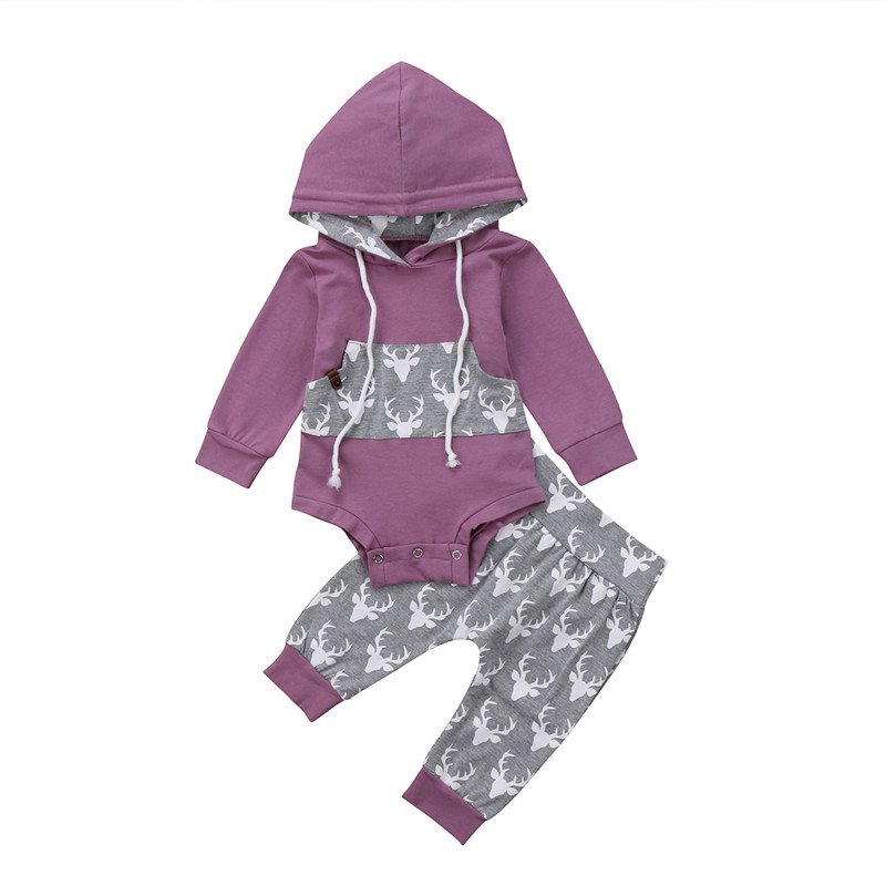 Mother & Kids 2pcs/set Spring Baby Clothing 2018 Casual Newborn Boy Girl Animal Deer Print Hooded Tops Romper+trousers Baby Purple Clothes Set Clothing Sets
