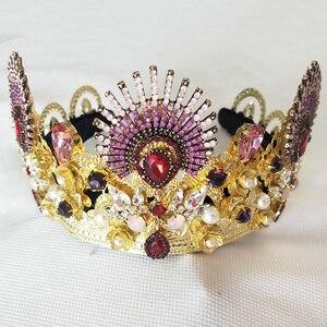 Luksusowe musujące złoto kryształ barokowa królowa ślub tiara korowód Prom Diadem do włosów dla nowożeńców biżuteria akcesoria