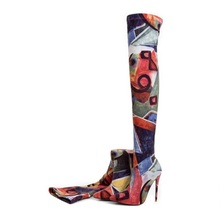Mixed Colors Patchwork Women High Boots Pointed Toe Stretch Fabric Over Knee Boots Womens Slip Fit Sock Boots Plus Size цена