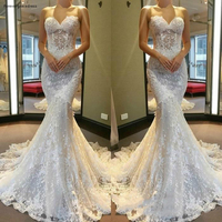 Cheap Fabulous Wedding Dress New Mermaid Sweetheart Soft Tulle Backless Long Garden Country Church Bride Bridal Gown Plus Size