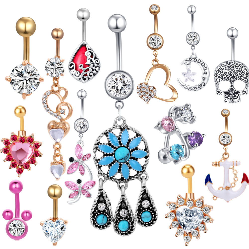 JUNLOWPY Body-Nombril-Kit Jewelry Button-Rings Navel-Piercing Belly Stainless-Steel Dangle
