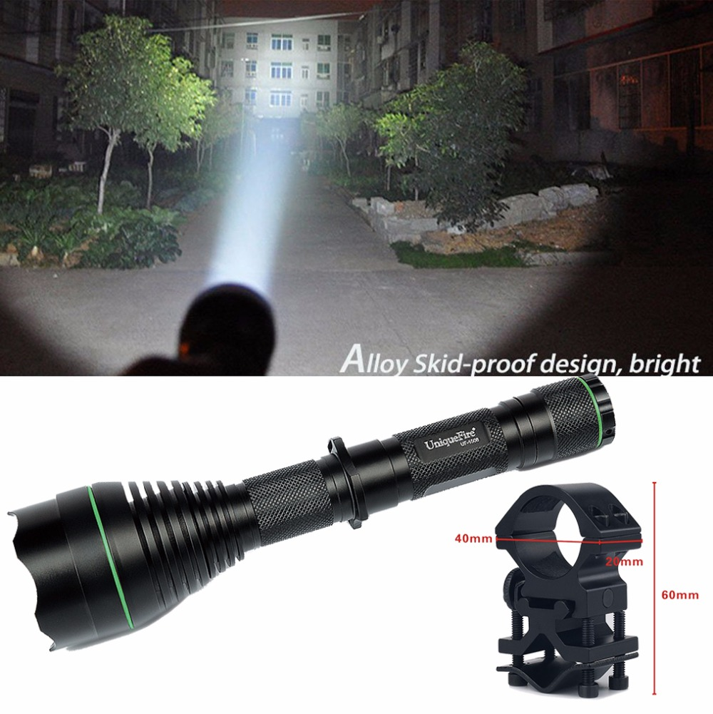 ФОТО Cree XML T6 Flashlight UniqueFire 1508 50mm Convex Lens Zoom 3 Modes 1200 High Lumens Lampe Torche+Gun Mount Design For Hunting