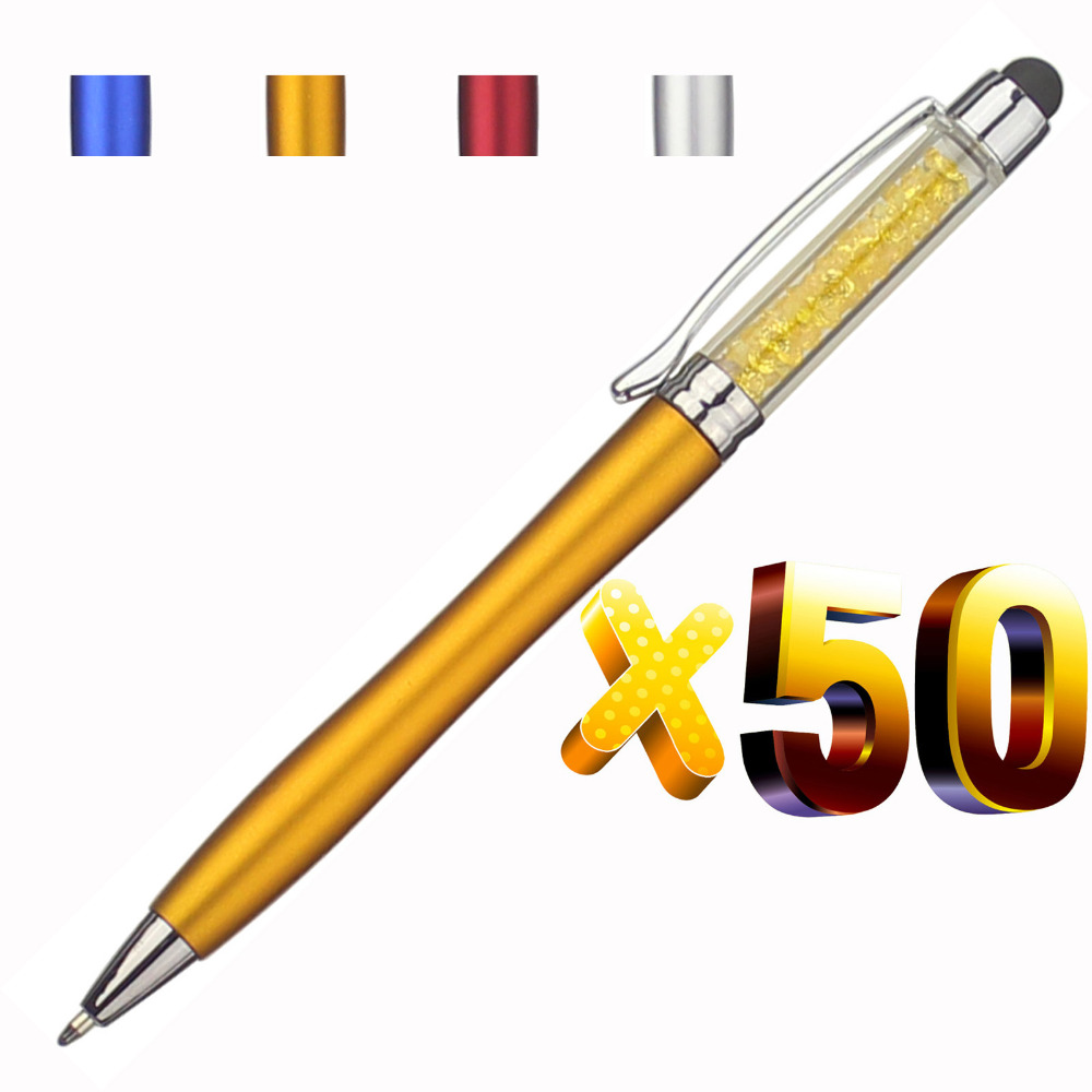 Image 1 - lot 50pcs Color Crystal Stylus Ball Pen,Diamond Deco Touch Screen Pen for Phone&Pad,Customized Promotional Logo Gift,-in Banner Pens from Office & School Supplies