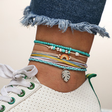 Boho Colorful Beads Anklets Bracelet For Women 2019 Leaf Rainbow Green Seed Stone Rope Ankle Foot Leg Jewellry