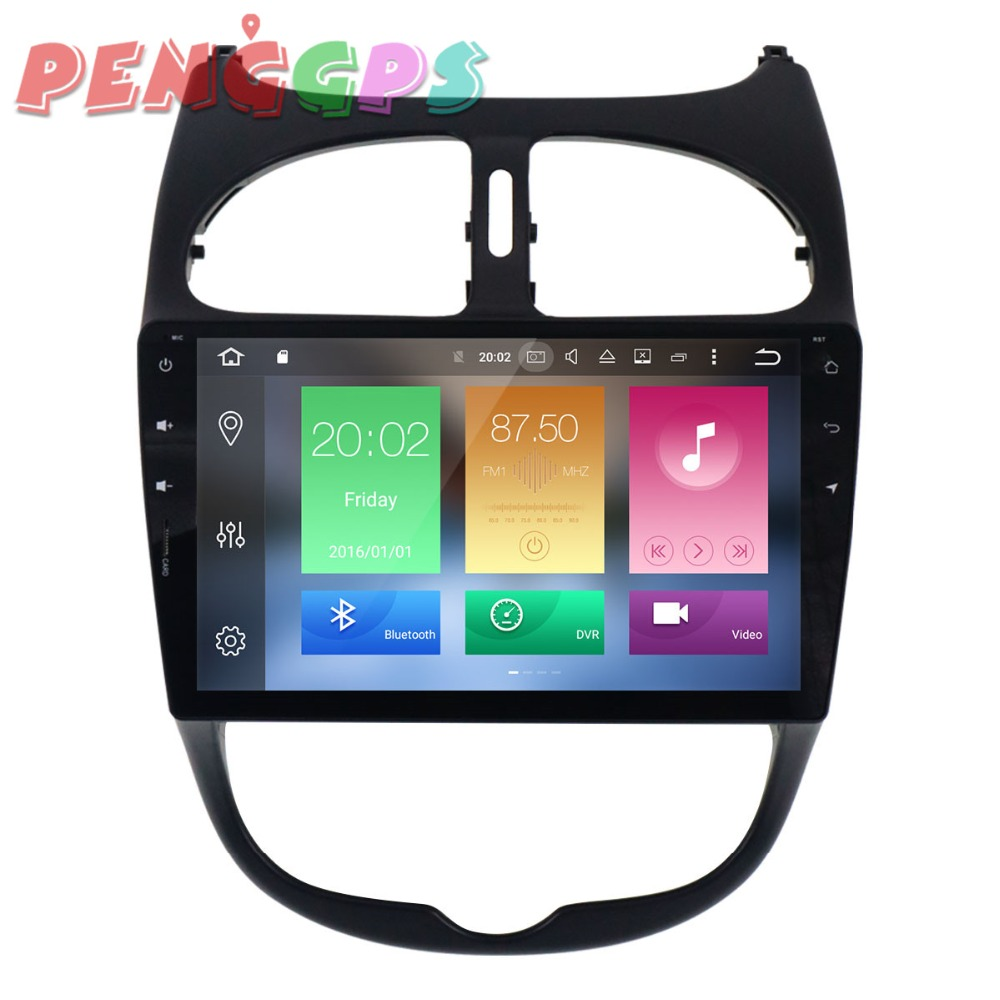 2din Android 8.0 7.1 Car Radio DVD Player GPS Navigation For <font><b>Peugeot</b></font> <font><b>206</b></font> 2000-2013 2014 2015 2016 Car Stereo Multimedia Headunit image