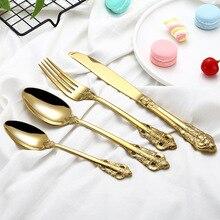 Luxury Gold Cutlery Set 304 Stainless Steel Dinnerware Western Flatware Silverware Tableware Sets Dinner Knife Fork Spoon цена и фото