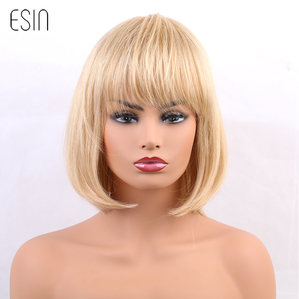 ESIN 10 inches Short Blonde Bob Style Wigs Short Straight Blend Hair Women Wigs with Bangs Wig Cap 2 Colors Free Shipping