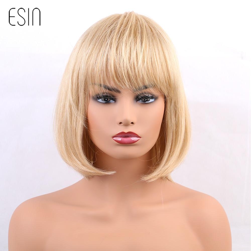 ESIN 10 polegadas Loira Perucas Estilo Bob Curta Reta Curta Mistura Mulheres Perucas de cabelo com Franja Peruca Cap 2 Cores Frete Grátis