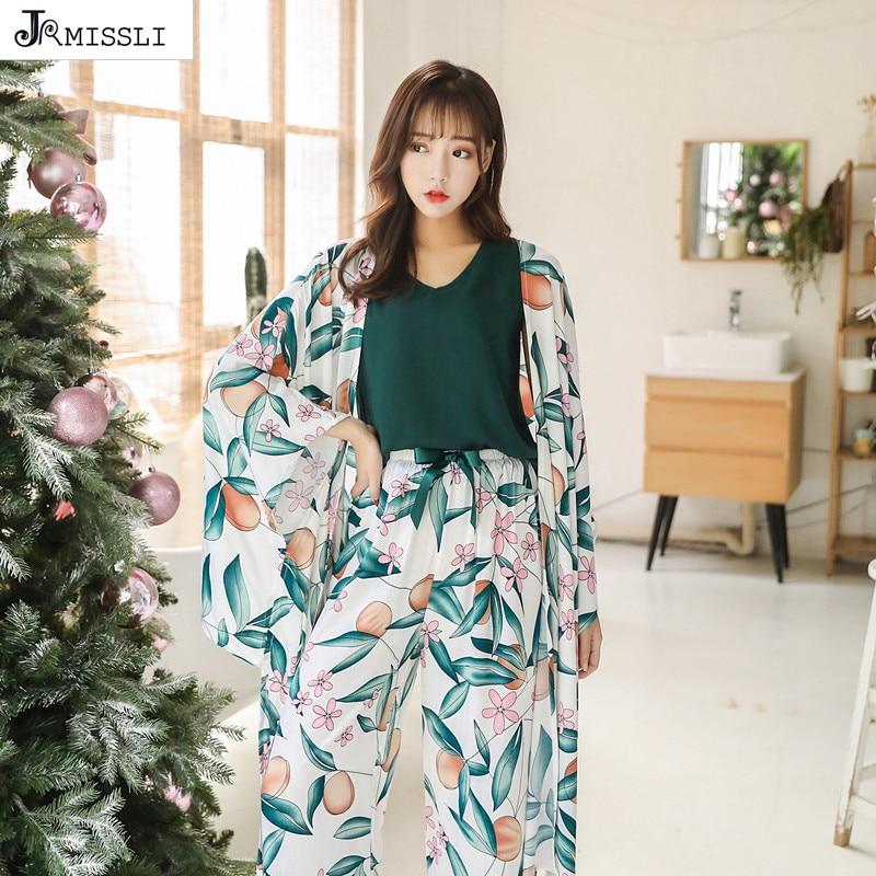 JRMISSLI Women Pajama Sets Womens 4 Piece Set Sleep Lounge Cotton Sexy Spring Autumn Pijama Nightwear
