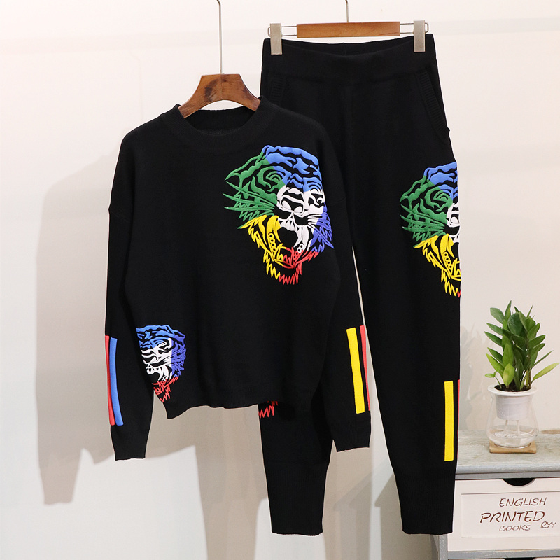 Amolapha Women Tiger Print Knitted Sweaters Trousers Casual Loose 2pcs Suits Knit Tracksuits