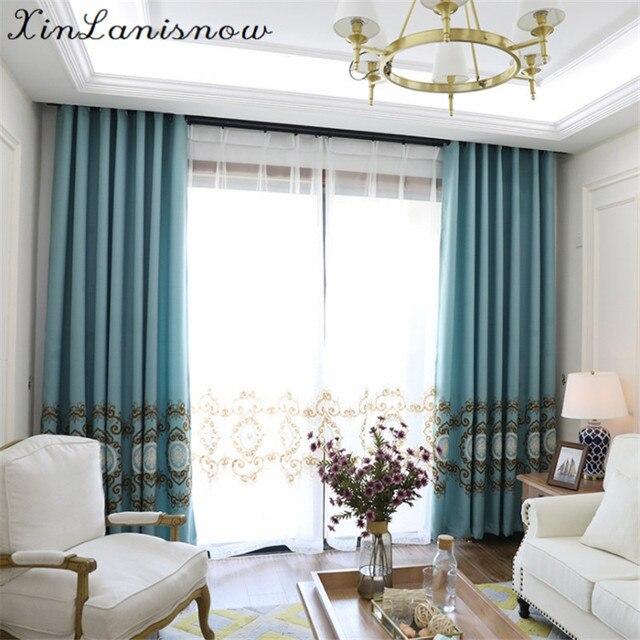 Linge Brodé Fleurs Villas Dans Le Miroir Rideaux Pour Salon Salle À