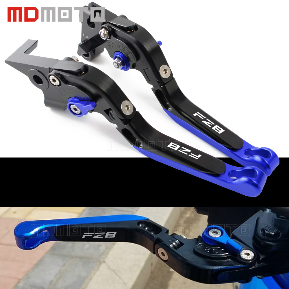MDMOTO FZ8 Black+blue Adjustable CNC Folding Extendable Motorcycle Brake Clutch Levers for Yamaha FZ8 2011 2012 2013 2014 2015 new cnc adjustable blue