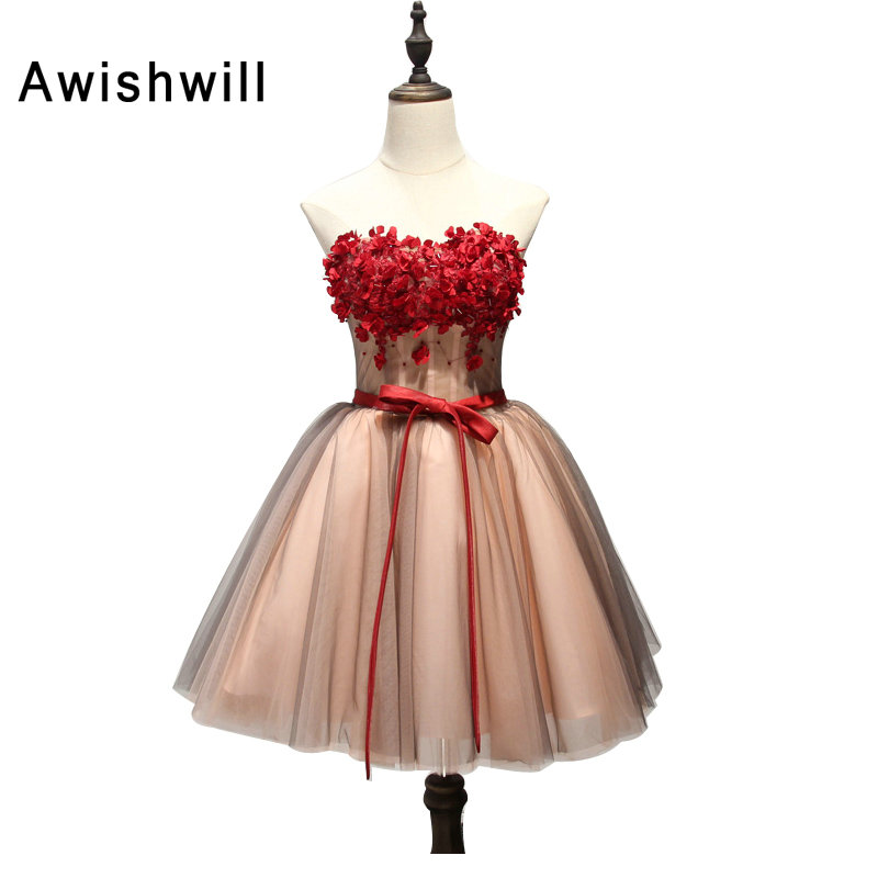 Fashion   Cocktail     Dresses   Short Elegant Strapless A Line Flowers Women Special Occasion   Dress   Homecoming Party   Dress   2019