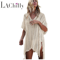 2018 Summer Womens Bathing Suit Cover ups Crochet Knitted Tassel Tie Kimono Beachwear Beach Dress Tunic Saida De Praia LC42183