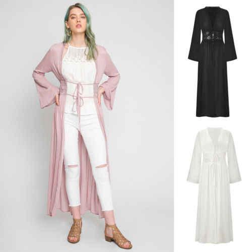 Женское однотонное богемное кимоно из шифона с цветочным принтом, 2019, длинный рукав, кардиган, Пляжное пальто