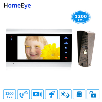 HomeEye 7inch Video Doorbell Video Intercom Home Access Control System Motion Detection Multi-languages OSD Menu Touch Button