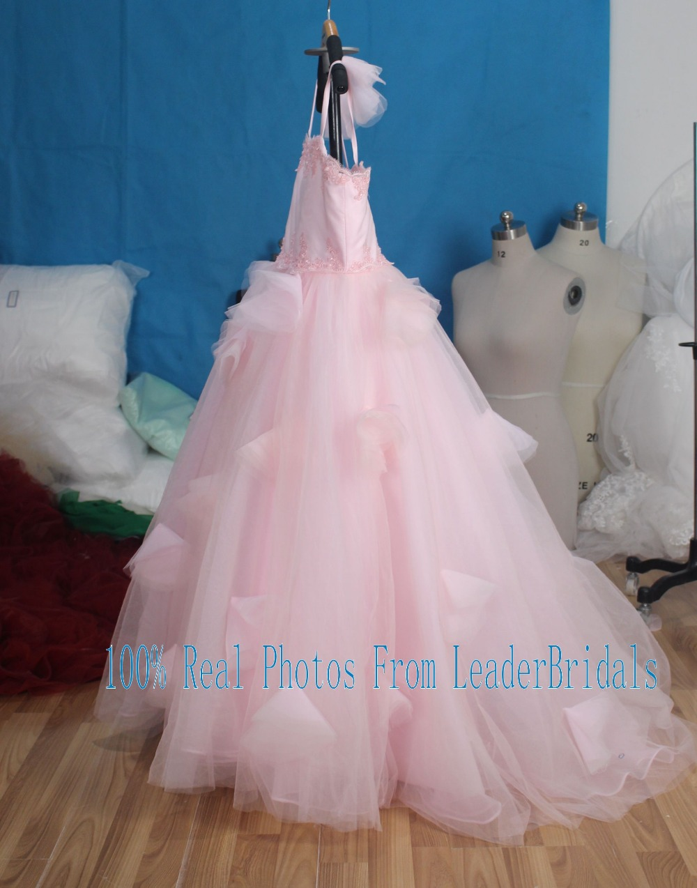 Pretty a line flowers girl dress blush pink tulle flowers mightylinksfo