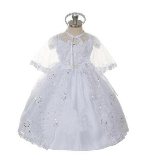 Lavish Baby Girl Batismal Christening Dress Gown White/Ivory Lace Applique Beading Robe WITH BONNET 0-24Month 2 din new universal car radio double 2 din car dvd player gps navigation in dash car stereo video free gps camera car multimedia