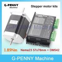 NEMA 23 CNC Stepper Motor 57x76mm dual shaft 1.89N.m 270Oz in 3A for CNC and 3D printer & DM542 Microstep 256 1.0 4.2A DC24 50v