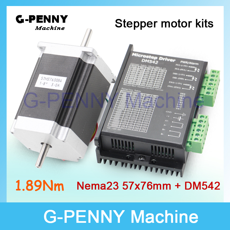 NEMA 23 CNC Stepper Motor 57x76mm dual shaft  1.89N.m 270Oz-in 3A for CNC and 3D printer & DM542 Microstep 256 1.0-4.2A DC24-50v high nema 23 stepper motor 185oz in cnc matching driver 4 2a 50vdc 125 microstep engaving mill