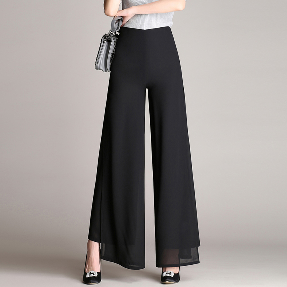 New Women Vintage Loose High Waist Long Trousers Double Layer Chiffon Side Split Casual Palazzo   Pants     Wide     Leg     Pants   pantalones