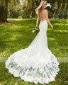 Nuevo Diseñador Sexy Backless Elegante Larga de Encaje Sirena Vestido de Novia 2016 de Lujo Cariño Apliques Rebordear Vestido de Novia Más El Tamaño