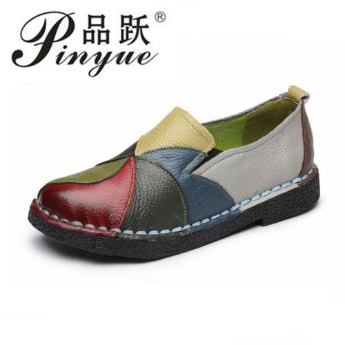 2018 Genuine leather women shoes mixed colors autumn slip on casual shoes women loafers vintage flat shoes woman zoqi shoes woman candy colors genuine leather women casual shoes 2018fashion breathable slip on peas massage flat shoes size 44