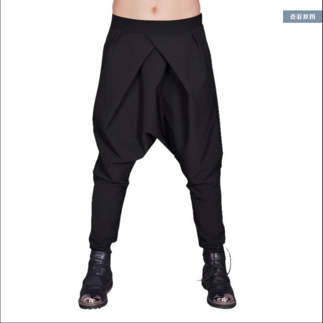 27-44 Dos Homens Novos calça casual calças de Outono e inverno do punk cruz solto harem pants calças Baixas virilha cantor hairstylist trajes calças