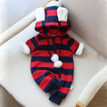Christmas Baby Rompers Striped Long Sleeve Thick Warm Baby Rompers For Girls Unisex Boys Girls Jumpsuits New Born Baby Clothes