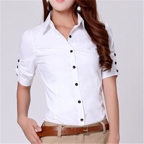 7a628e6a66 US $37.81 |Women Tops 2017 New Plus Size Clothing Cotton Button Down Short  Sleeve Shirts Formal Tunic White Blouse Top Blusas Feminina #B51-in Blouses  ...