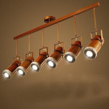 أدى قلادة ضوء sportlight الصلبة خشبية لوفت الرجعية القنب الخيزران مقهى قلادة ضوء 1/2/3/6 رؤساء قلادة ضوء زكية zb57