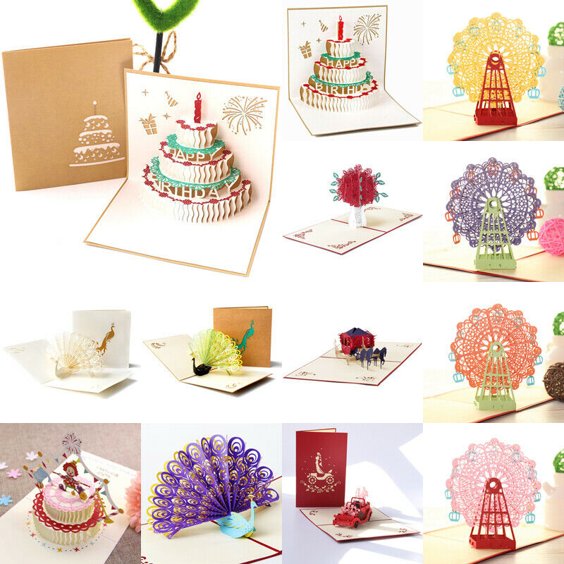 3D Pop Up Card Invitations Christmas Birthday Wedding Greeting Card Anniversary Xmas Multi Greeting Card