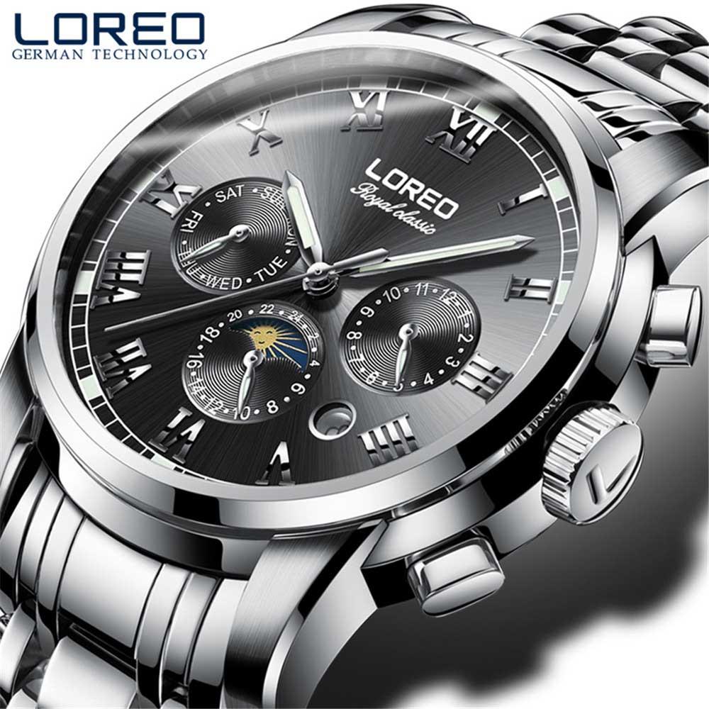 水泳 50 メートル自動機械式時計スポーツ男性 LOREO トップブランドの高級男性腕時計ファッションカジュアルメンズ relojes hombre -