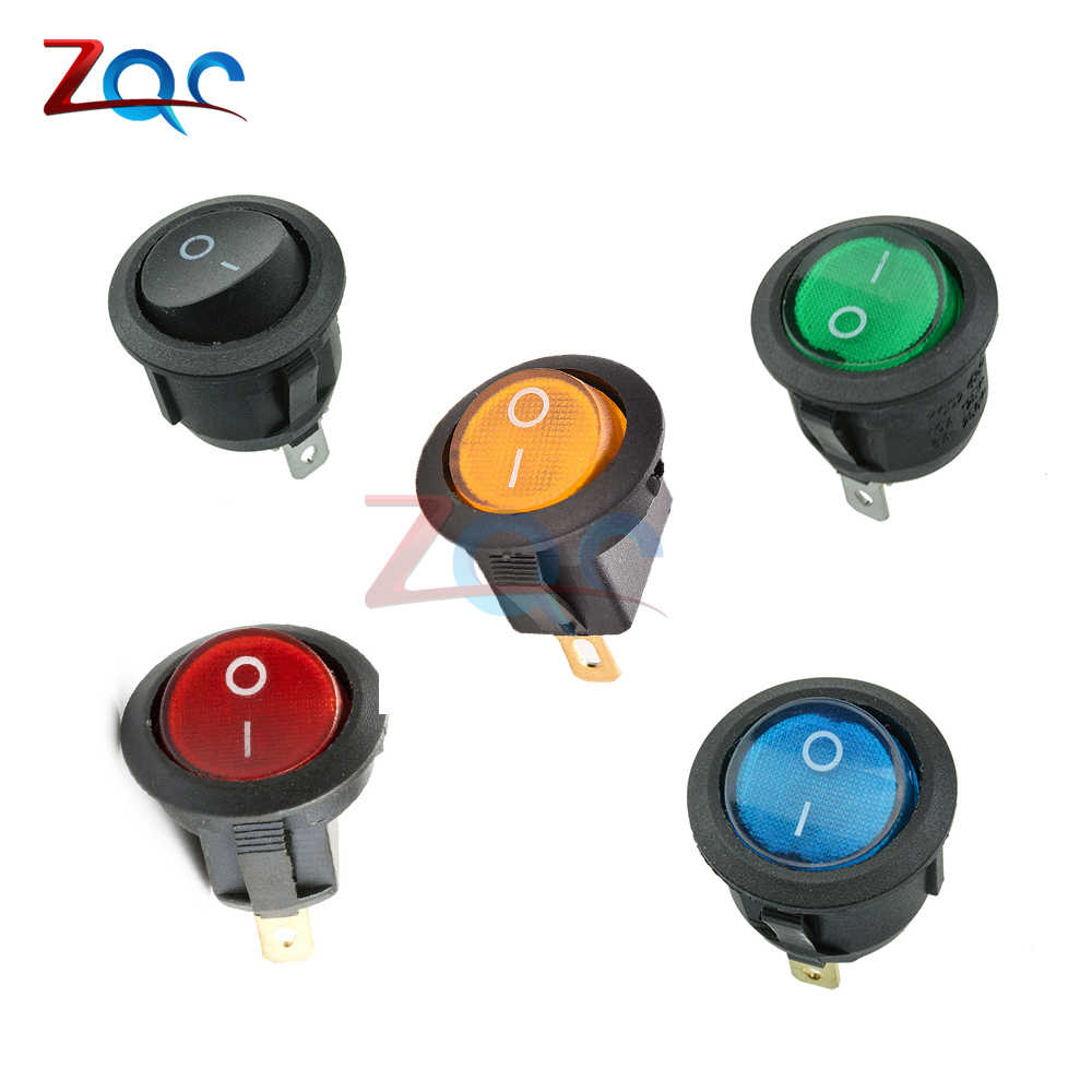 5Pcs SPST Interruptor 125 V/250 V interruptor rocker Dot Luz 3 pinos ON-OFF Rocker Switch LED iluminado Car Dash Dashboard Barco de Alternância
