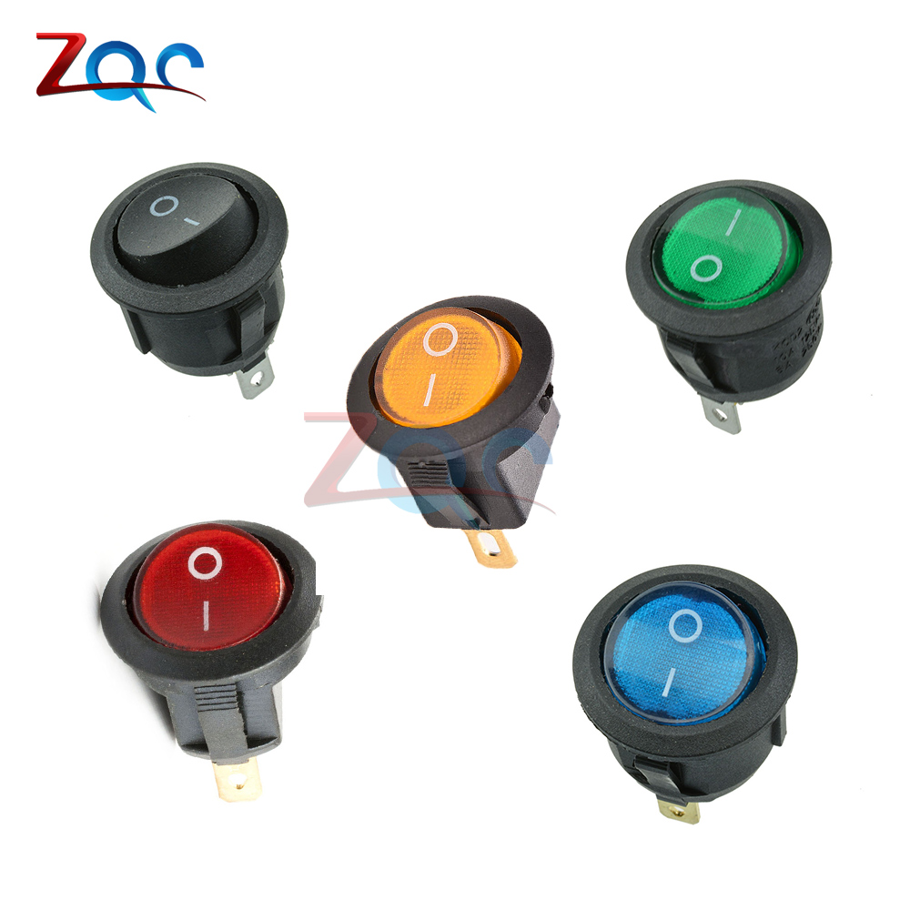 5Pcs Mini 3 Pin Round Black SPDT ON-OFF Rocker Switch Snap-in 5pcs black push button mini switch 6a 10a 250v kcd1 101 2pin snap in on off rocker switch 21 15mm
