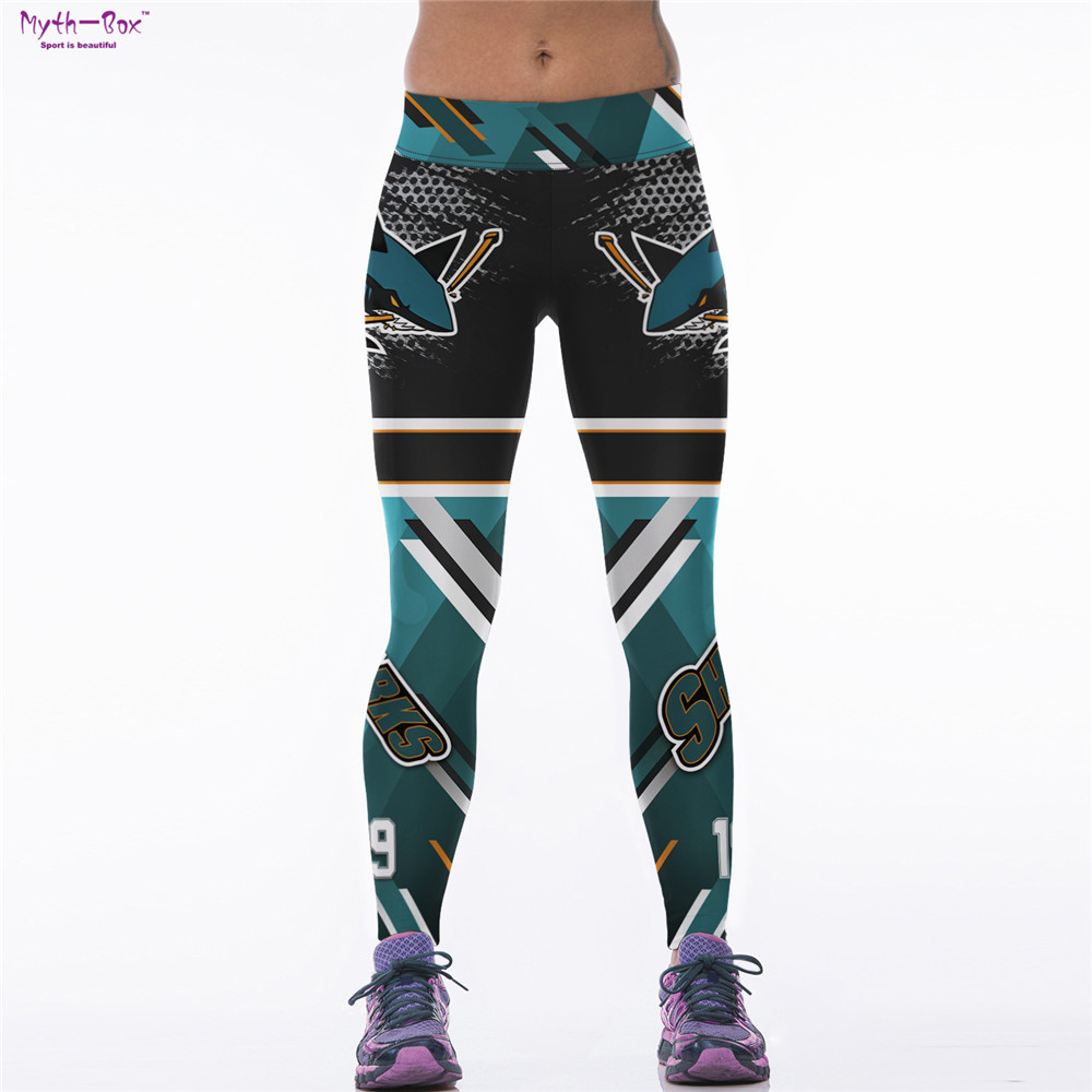 Women Sport Leggings 3D Printed Sharks Skinny Trouser Cycling Capris Running Fitness Pants High Waist Quick Dry Workout Jeggings