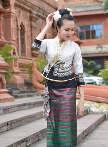 Retro water conservancy Festival life dress festival costumes Thailand Laos Myanmar Traditional Dai costume women Ethnic suits 1