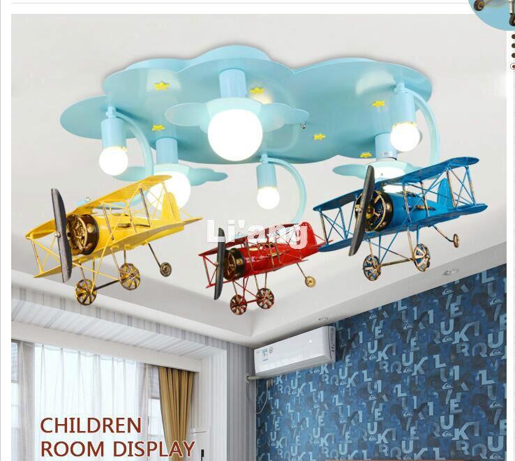 Nouvelle Arrivée LED Enfants Lumières Enfants Plafond Lampe Avion Conception Decora Chambre Lumière E27 110 V 220 V Télécommande inclus