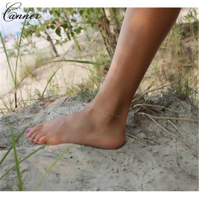 シンプルなゴールドアンクレットのため女性の足首のブレスレット裸足サンダル夏ビーチフットジュエリー enkelbandje Q4
