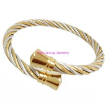 Fashion Twisted Cable Stainless Steel Bracelet Silver Gold Open Cuff Bangle Cable Wire Bracelet Pulseras Jewelry