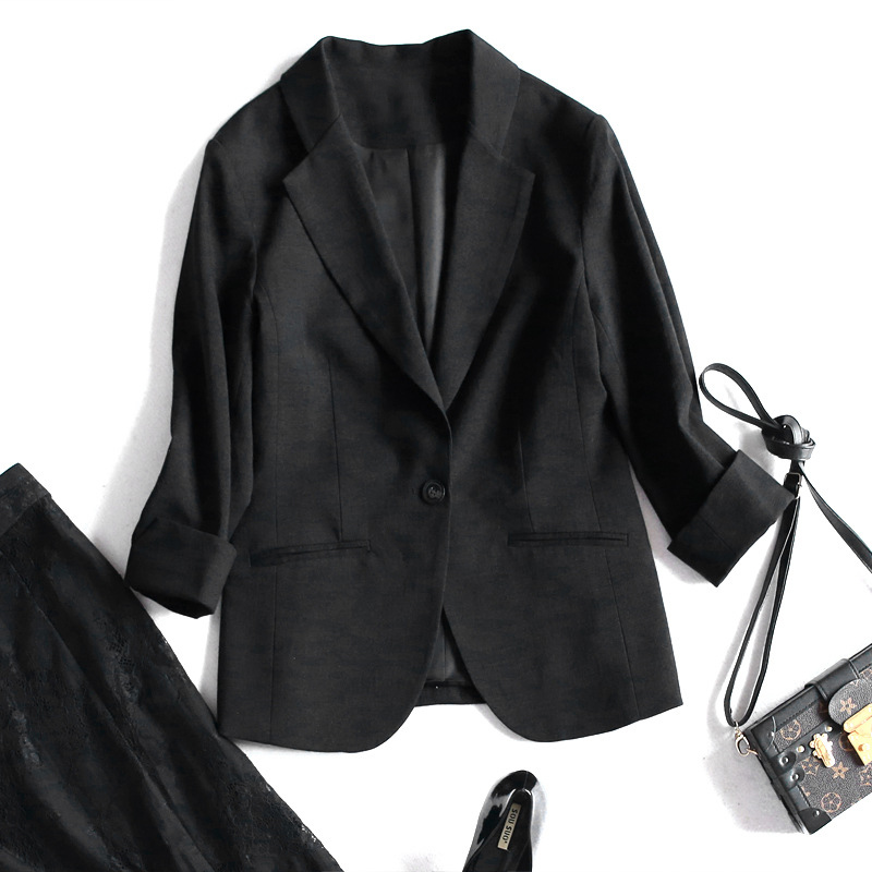 Spring OL Cotton And Linen Small Suit Seven-Point Sleeves Sleeves One-Button Buckle Solid Color Slim Suit Jacket Free Shipping