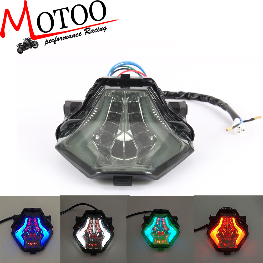 Motoo - INTEGRATED RED BLUE GREEN WHITE Motorcycle LED Tail Light SMOKED FOR YAMAHA R3 2015-2016 R25 2014-2015 MT-07 FZ-07 14-15