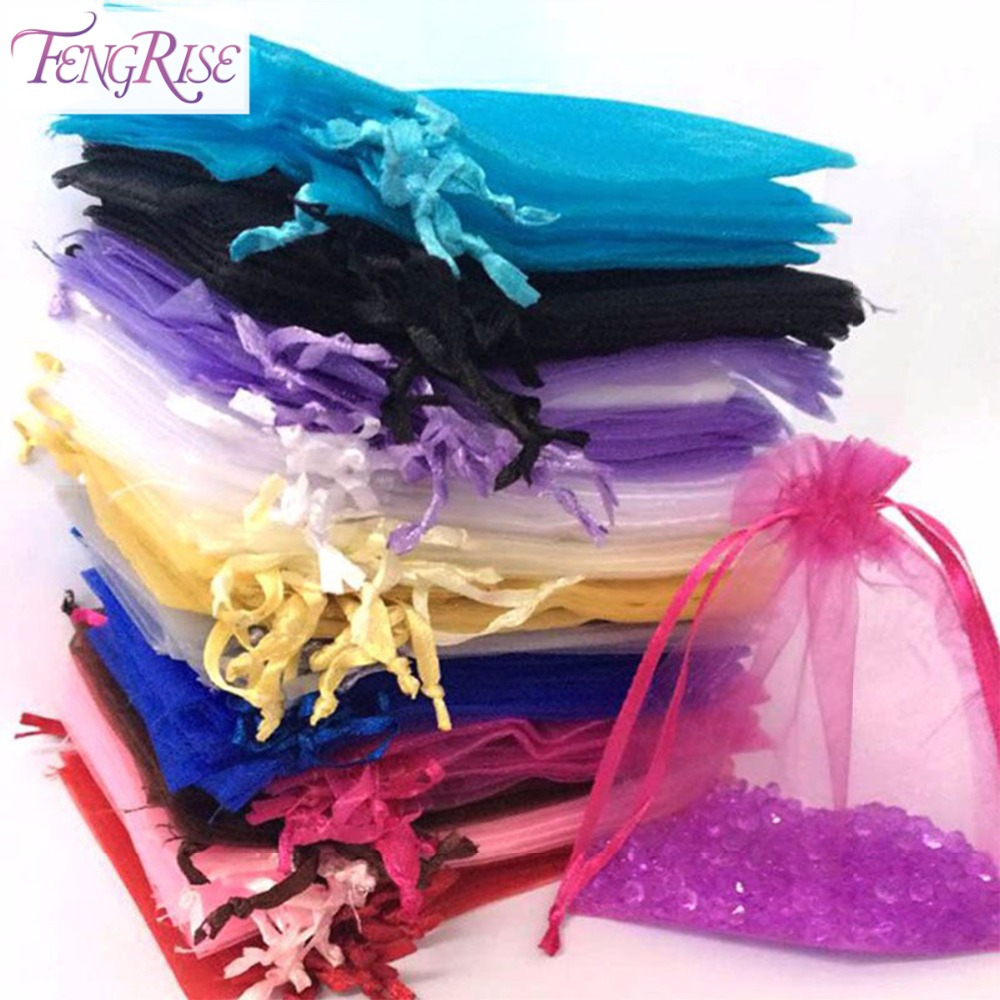 b626e2b67 Fengrise 100 unids organza tulle Bolsas de tela decoración de la boda Candy  joyería embalaje bolsa de regalo fiesta de cumpleaños suministros en Y  Bolsas de ...